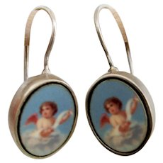 Sterling silver earrings turquoise color cherub cameo romantic contemporary jewelry design upscale