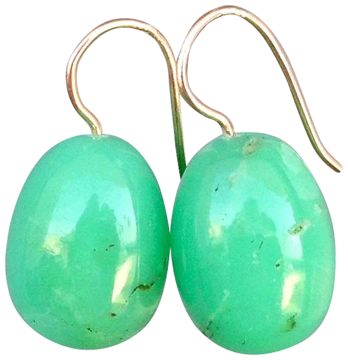 Green Stone Earrings Gold Plated Ear Wire Contemporary Jewelry Design