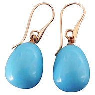 Turquoise blue drop earrings gold plated ear wire contemporary jewelry