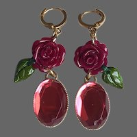 Purple flower earrings plastic resin cabochon fuchsia pink faceted glass stone gold plated lever back clasp romantic contemporary jewelry upscale design