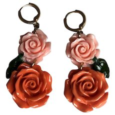 Pink orange plastic resin rose flower earrings gold plated lever back clasp romantic contemporary jewelry upscale design