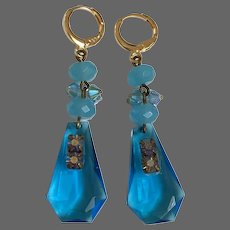 Turquoise blue cyan drop earrings Swarovski crystal old cut-glass gold-plated lever back clasps romantic contemporary jewelry upscale