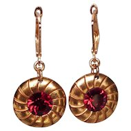 Gold plated button earrings red Swarovski crystal romantic contemporary jewelry design