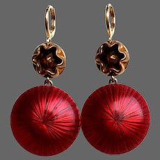 Cherry red & gold color cabochon earrings vintage style contemporary passionate jewelry design upscale