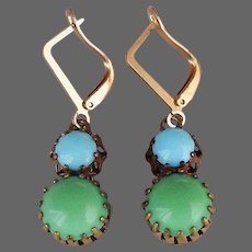 Green blue crystal cabochon earrings rugged brass basket prong setting gold plated hypoallergenic ear-wire romantic contemporary jewelry design