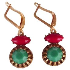Emerald-green ruby-red crystal cabochon earrings rugged brass basket prong setting gold plated ear-wire romantic contemporary jewelry design
