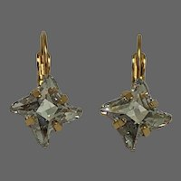 New sparkling Swarovski twisted rhombus special cut crystal rhinestones on gold plated metal earrings upscale jewelry design