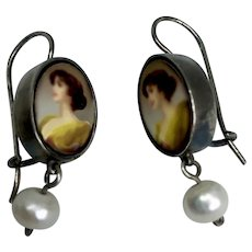 Woman cameo earrings sterling silver freshwater pearl vintage style contemporary romantic jewelry design upscale