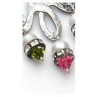 Sterling silver earrings pink green violet Swarovski crystals.