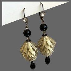 Lightsome earrings vintage metallic-white plastic flower black glass beads and Swarovski crystal contemporary jewelry design.