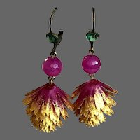 Lightsome earrings metallic-gold violet vintage plastic flower purple glass beads and green Swarovski crystal contemporary jewelry design.