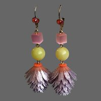 Lightsome earrings vintage metallic-violet plastic flower yellow pink-purple glass beads peach Swarovski crystal contemporary jewelry design.