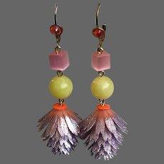 Lightsome earrings vintage metallic-violet plastic flower yellow pink-purple glass beads peach Swarovski crystal contemporary jewelry design.