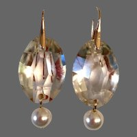 Clean oval crystal earrings old cut lamp-work jewel with Majorca pearl Hypoallergenic gold-plated lever back clasp contemporary upcycled jewelry