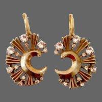 Moon shape designer gold plated  Upcycled vintage earrings elegant crystal rhinestones jewelry design