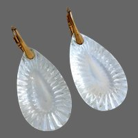 Ice clear crystal old glass drop earrings gold plated lever back clasp flea market vintage jewelry