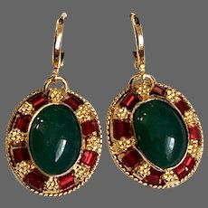 Vintage green agate cabochon earrings gold plated bezel red glass beads gold plated lever back clasp flea market jewelry