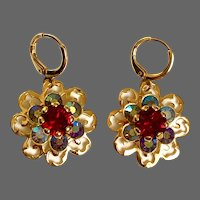 Vintage magenta crystal stone ice-green AB crystal gold plated flower earrings lever back hypoallergenic clasp flea market happy jewelry