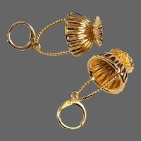 Vintage sparkly earrings gold-plated fruit mini basket hypoallergenic lever back clasp flea market jewelry upscale