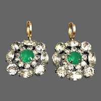 Vintage green Swarovski cabochon sparkling rhinestone marquisette petals crystal flower earrings gold plated clasp