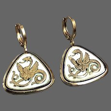 Gold plated sea serpent dragon on triangle white enamel earrings vintage jewelry hypoallergenic clasps