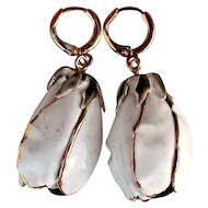 White enamel flower designer gold plated upcycled vintage earrings rosebud jewelry design.