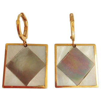 Designer earrings gold plated mother of pearl vintage cufflinks upcycled into elegant earrings