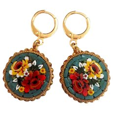 Vintage micro-mosaic flower upcycled earrings gold plated clasp European costume jewelry