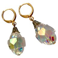 Vintage AB crystal upcycled earrings gold plated clasp European costume jewelry