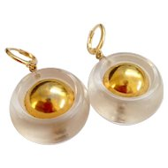 Vintage transparent lucite designer gold plated upcycled earrings round shape jewelry design.