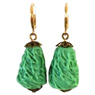 Vintage emerald green glass bead drop earrings on brass accent and hypoallergenic gold plated ear wire statement jewelry upscale fashion