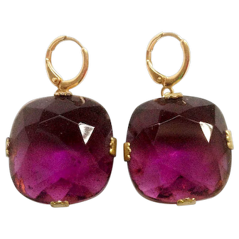 Violet stone gold plated earrings Upcycled vintage elegant jewelry design