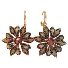 Vintage enamel gold plated flower earrings upcycled findings.