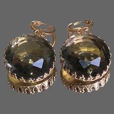 Vintage earrings big smoky quartz gray crystal gold plated bezel hypoallergenic lever back clasps elegant jewelry upscale.