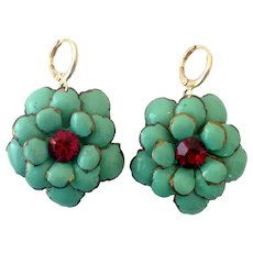 Turquoise green enameled brass flower earrings and fuchsia Swarovski crystal on hypoallergenic gold plated ear wire rich colored fashion jewelry