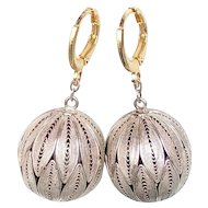 Vintage silvery ball filigree earrings gold plated ear wire upcycled jewelry design hand crafted