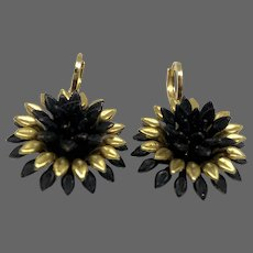 Vintage black and gold-plated brass dahlia flower drop earrings hypoallergenic gold-plated clasp upcycled statement jewelry design upscale fashion