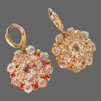 Designer gold-plated crystal earrings vintage accents upcycled, elegant jewelry design.