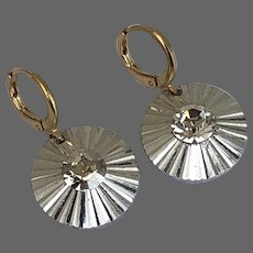 Vintage silvery metal crystal button earrings gold plated lever back clasp estate jewelry