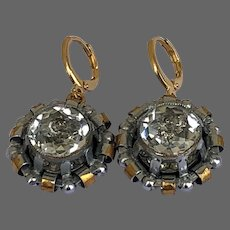 Vintage gold and silver tone brass cage crystal earrings gold plated hypoallergenic lever-back clasp upcycled fashion jewelry design