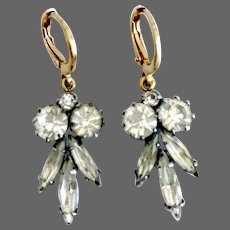 Dainty vintage marquise and round crystal rhinestones upcycled earrings gold plated hypoallergenic lever back clasp flea market jewelry