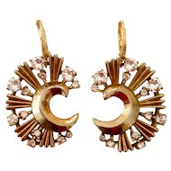 Moon shape designer gold plated