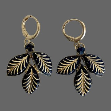 Vintage earrings 3 black glass leaves with gold painted veins, black crystal, hypoallergenic gold-plated lever back clasp elegant jewelry design