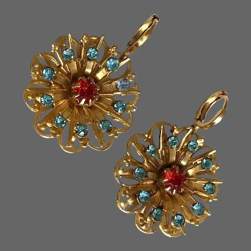 Vintage gold-plated brass flower earrings red turquoise crystal stones hypoallergenic gold-plated lever back clasps Jaffa flea market jewelry