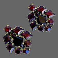 Czech red garnet crystal vintage clip on earrings Prague flea market jewelry