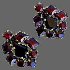 Czech red garnet crystal vintage clip on earrings Prague flea market jewelry