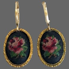 Vintage flower cameo embroidered on a black net set in gold tone metal oval bezel gold plated hypoallergenic lever back clasp flea market jewelry