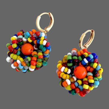 Vintage multi-color embroidered Venetian glass seed beads on brass earrings, gold plated hypoallergenic lever back clasp, European flea market jewelry