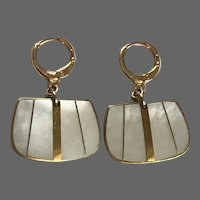 Vintage gold-plated brass and mother of pearl earrings lever back clasp elegant classy jewelry