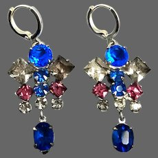 Royal blue, pink violet metallic gray vintage crystal earrings silver plated clasp elegant jewelry design